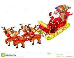 Illustration De Dessin Animé Du Père Noël Dans Son Traîneau