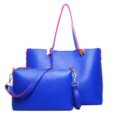 100 Two In One LM1615 Miss Lulu Leather Look Classic Tote Blue With Pink