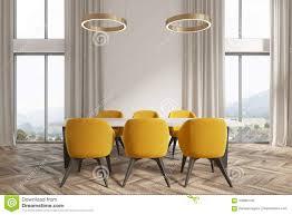 weiße esszimmerecke gelbe stühle stock abbildung