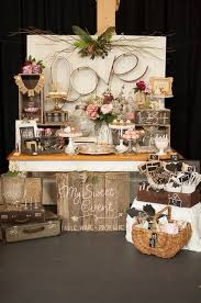 Rustic Shabby Chic Vintage Wedding Event Suitcases Wooden Risers Cake Stands Compotes Bunting Metal Love Sign Doors Reception Table Numbers All