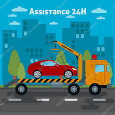 Car Assistance. Roadside Assistance Car. Tow Truck. Vector ...