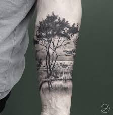 Trees Water Park Nature Scene On Guys Forearm