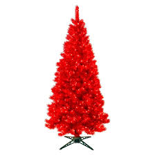 7 X 38 Translucent Ruby Red Pre Lit Artificial Christmas Tree