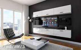 future 7 wohnwand anbauwand wand schrank tv schrank möbel wohnzimmer wohnzimmerschrank hochglanz weiß schwarz led rgb beleuchtung 7 hg bw 5 led