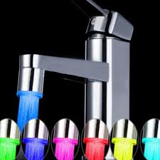 7 color jump change led light water powered basin tap kitchen