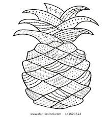 Cute Pineapple Coloring Pages Adult Book Page Whimsical Line Art For Hand Drawn Color Stock Images