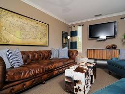 furniture traditional brown tufted leather sofa for transitional