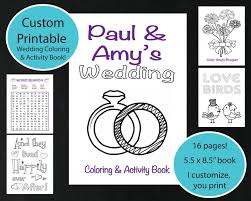 CUSTOM Printable Wedding Coloring Activity Book Personalized Sheet Reception Game Kids Favor For Childrens