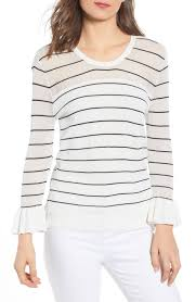 Cupcakes And Cashmere Stripe Ruffle Sleeve Sweater