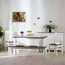 homestyle4u 1868 essgruppe mit bank tisch und 2 stühlen weiß braun esstisch holz