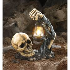 Ghostly Sinister Skeleton Skull With Lantern For Halloween Decoration