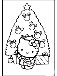 Cute Christmas Coloring Sheets Hello Kitty Pages Free Printable