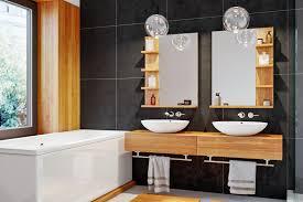 badezimmer möbel aus holz als blickfang im dunklen bad