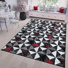 tapiso teppich modern kurzflor geometrisch dreieck meliert muster grau schwarz rot weiss designer wohnzimmer 250 x 350 cm