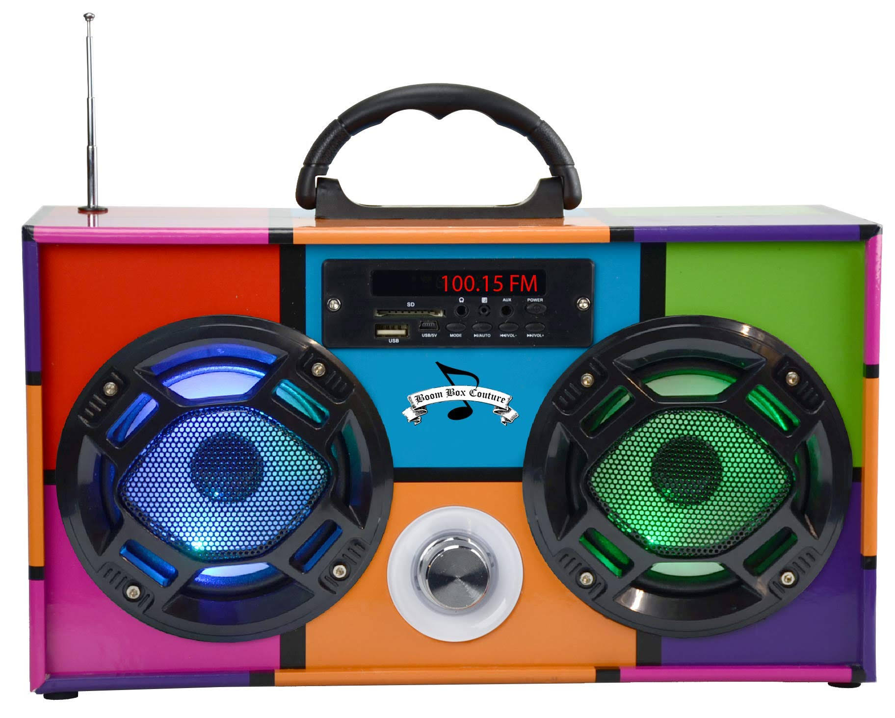 Wireless Express Mini Boombox with LED Speakers - Retro Multi Colored