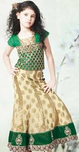 Little Girls Kids Sharara Lehenga Choli 2015 Indian Designs Green Dress
