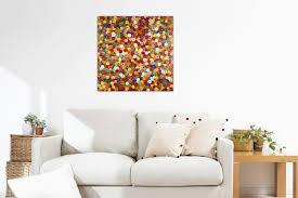 details zu acryl gemälde abstrakt bunt handgemalt leinwand bilder 80x80cm