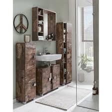 spiegelelement evere 04 mit regal für das badezimmer in panamaeiche matt mit holzstruktur b h t ca 73 3 73 2 15 8cm