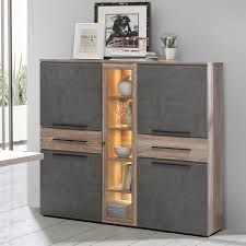 forte mindi highboardvitrine idnv433 für ihr wohnzimmer oder esszimmer anrichte mit vier türen glastür und zwei schubkästen korpus und front picea