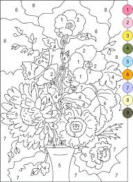 Difficult Color By Number Coloring Pages For Adults Free Printable Best