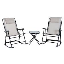 Outsunny 3 Piece Outdoor Rocking Chair Patio Table Seating Set Folding -  Cream White Timber Ridge Rocking Chair Folding Padded Patio Lawn Recling Camping With Armrest Side Storage Bag Supports 300lbs Gci Outdoor Freestyle Rocker Mesh Antique Genoa In Black Colour By Parin Costway Porch Zero Gravity Fniture Sunshade Canopy Beige Festival Brown Metal Doydendavis Red Sophia And William Table With Small Square End Tables Bluegrey Midcentury Modern Costa Rican Leather 2019 New Products Lounge Seat From Newlife2016dh 6671 Dhgatecom Roadtrip