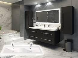 badmöbelset elegantes doppel badezimmer möbelset mit waschplatz in wellenform in weiß oder anthrazit inkl 2 x hochschrank und großen spiegel