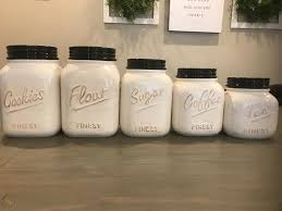 Ceramic Kitchen Canister Sets Ivory Ceramic Kitchen Canisters Set Of 5 Farmhouse Style