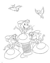 Cinderella Coloring Page With The Mice At Free Pages