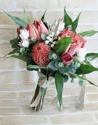 Wedding Bouquet Bride Bridesmaid Proteas Banksia Blushing Native