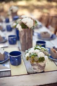 Rustic Wood Wedding Table With Blue Mugs