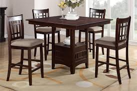 Square Counter Height Dining With Buit In Lazy Susan Poundex F2346