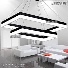 Modern LED Rectangle Pendant Light Fixture Gold Dining Room Lighting And Black For Choice