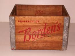 Old Vintage 1950s Bordens Wood Metal Wooden Milk Crate Box Collectible Tool