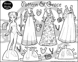 Patterns Grace A Black White Fantasy Paper Doll TemplateColoring SheetsAdult