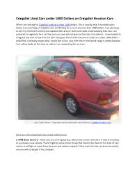 Used Cars For Sale Under $1000 On Craigslist Cars By Blogg Updatingg ... Used Cars Austin Tx Trucks Texas Auto Ranch Houston Gil Sales Inc Craigslist Tx For Sale By Owner Best Image Truck Goodyear Motors Mall 59 Larry Pages Kitty Hawk Flying Car Is Available For Preorder Seattle Washington And Finchers Team Car 2018 And By 2019 New