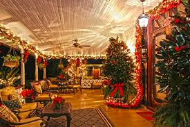 Stetson Mansion Porch Decorated For Christmas DeLand FL