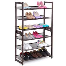 3 Tier Stackable Metal Shoe Rack Flat & Slant Adjustable Shoe