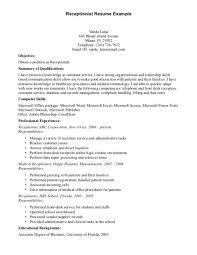 Dental Front Desk Receptionist Resume by Receptionist Objective Resume Student Resumes Objectives Resume