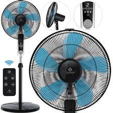 kesser standventilator mit fernbedienung und display led timer leise oszillation 80 grad 60 watt ventilator höhenverstellbarer 115 134 cm