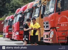 100 Pioneer Trucks 180802 GUIYANG Aug 2 2018 Xinhua A Staff Member