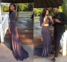 long sleeves two piece prom dresses jewel beaded satin open back