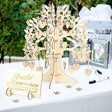 AerWo Family Tree Wedding Guest Book 3D Wooden Sign Rustic Party Decorations
