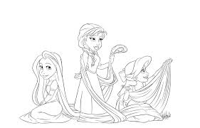 Anna Elsa And Rapunzel Coloring Page