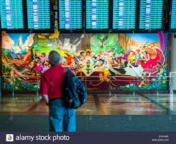 denver international airport murals pictures colorful mural titled in peace harmony with nature by leo