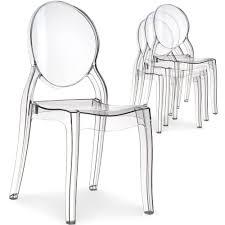 chaises plexi lot de 4 chaises médaillon plexi transparent salle à manger