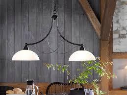 fischer honsel led pendelleuchte mit glas lenschirm landhaus stil antik 2 flammig design hänge le dimmbar über esstisch küche esszimmer