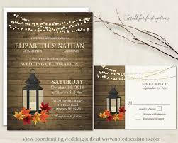 Rustic Fall Wedding Invitations Set Metal Lantern Wedding