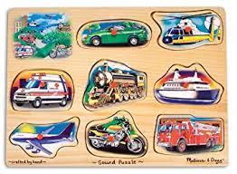 amazon com melissa doug vehicle sound puzzle wooden peg