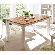 esszimmer tisch im landhausstil weiß und wildeichefarben