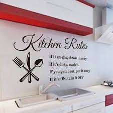 Image Is Loading Kitchen Rules Wall Sticker Removable Art Words Mural